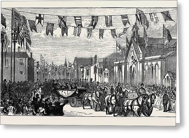 The Duke And Duchess Of Teck At Southport Arrival Greeting Card by English School