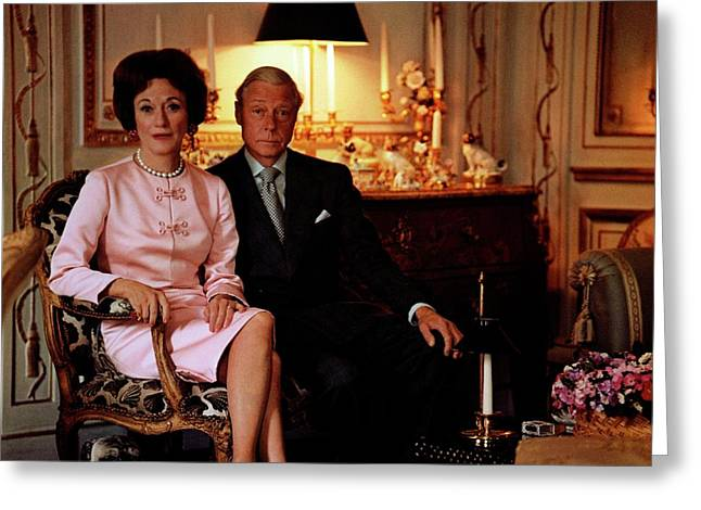The Duke And Duchess Of Windsor In Their Paris Greeting Card by Horst P. Horst