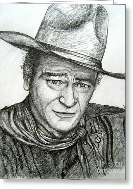 Greeting Card featuring the drawing The Duke John Wayne by Patrice Torrillo