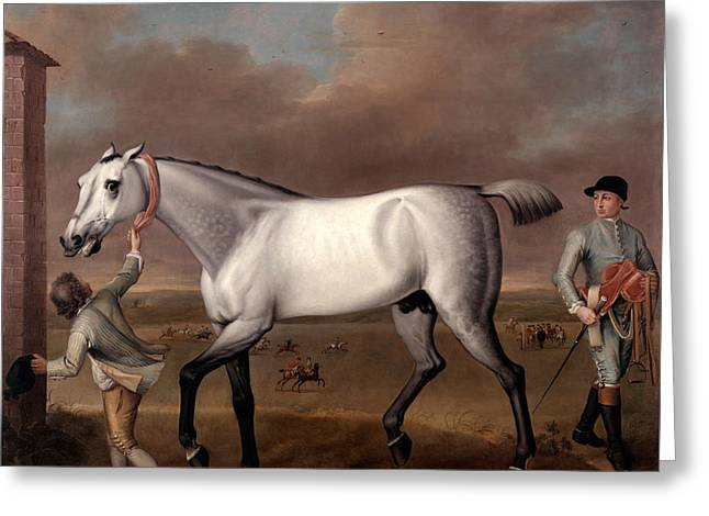 The Duke Of Hamiltons Grey Racehorse Victorious At Newmarket Greeting Card by John Wootton