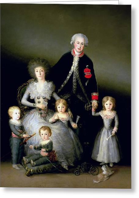 The Duke Of Osuna And His Family, 1788 Oil On Canvas Greeting Card
