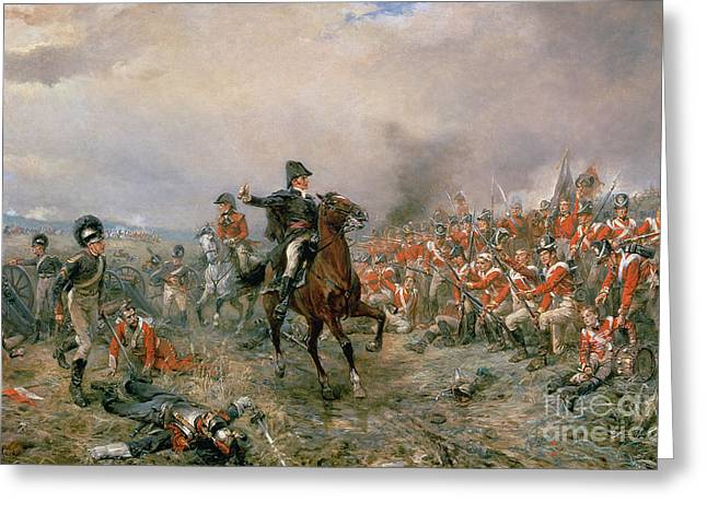 The Duke Of Wellington At Waterloo Greeting Card by Robert Alexander Hillingford