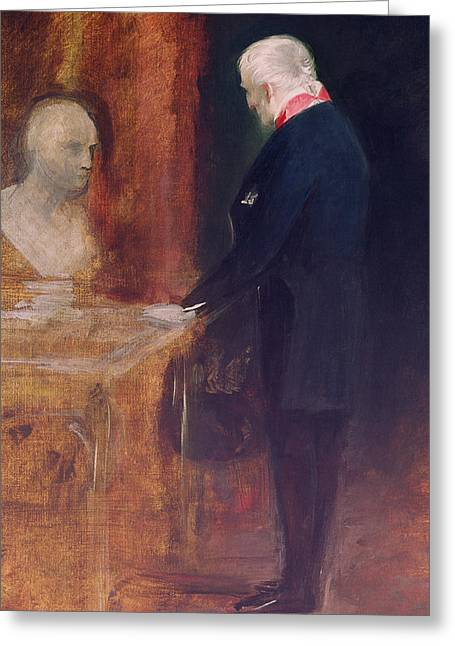 The Duke Of Wellington Studying A Bust Of Napoleon Greeting Card by Charles Robert Leslie
