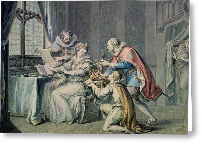 The Dukes Of Northumberland And Suffolk Praying Lady Jane Grey To Accept The Crown Greeting Card by Giovanni Battista Cipriani