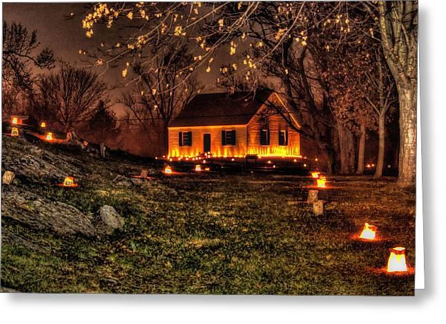 The Dunker Church 'n Flames-a1 - Antietam National Battlefield Memorial Illumination Greeting Card by Michael Mazaika