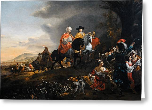 The Dutch Ambassador On His Way To Isfahan, C. 1653-1659, By Jan Baptist Weenix 1621-c.1659 Greeting Card by Bridgeman Images