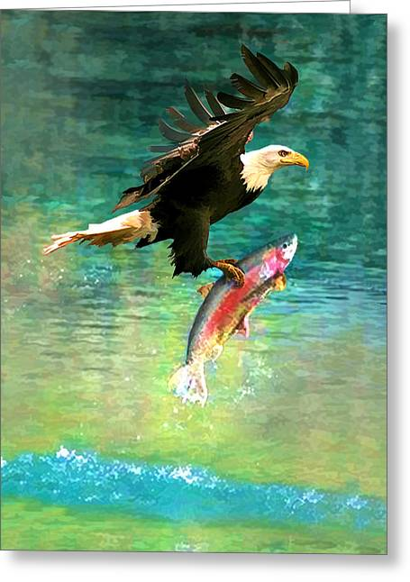 The Eagle And The Fish Greeting Card by Rick Wicker