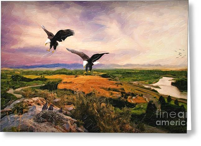 Greeting Card featuring the digital art The Eagle Will Rise Again by Lianne Schneider