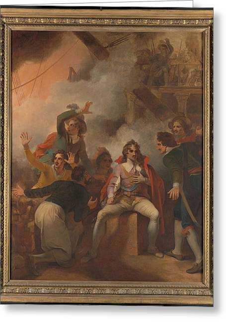 The Earl Of Sandwich Refusing To Abandon His Ship Greeting Card by Litz Collection