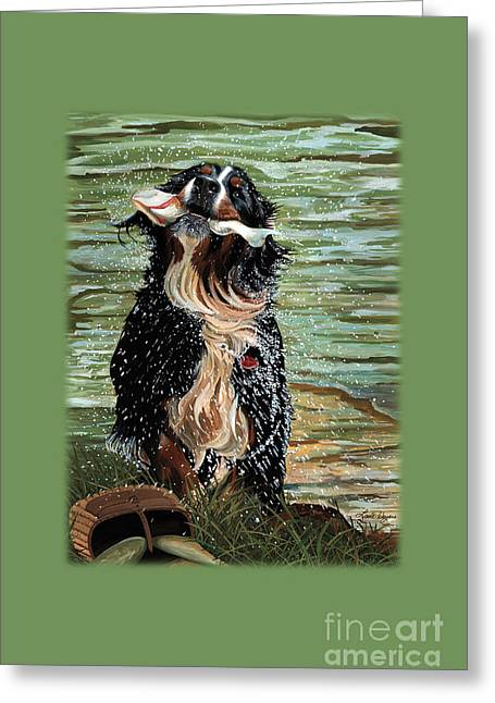 The Early Berner Catcheth Phone Greeting Card by Liane Weyers