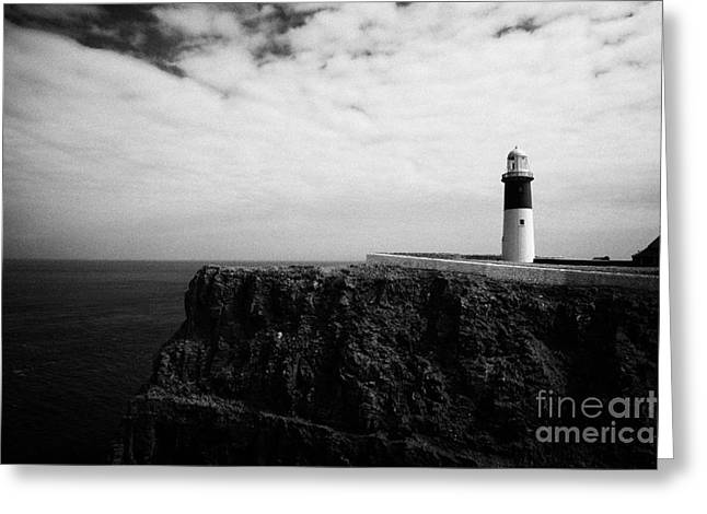 The East Light Lighthouse Altacarry Altacorry Head Rathlin Island Against Blue Sea And Blue Cloudy S Greeting Card