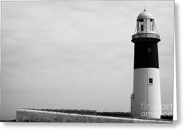 The East Light Lighthouse Altacarry Altacorry Head Rathlin Island Against Grey Sky County Antrim Nor Greeting Card by Joe Fox