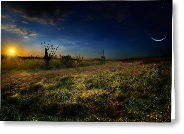 The Edge Of Night Greeting Card by Mark Andrew Thomas