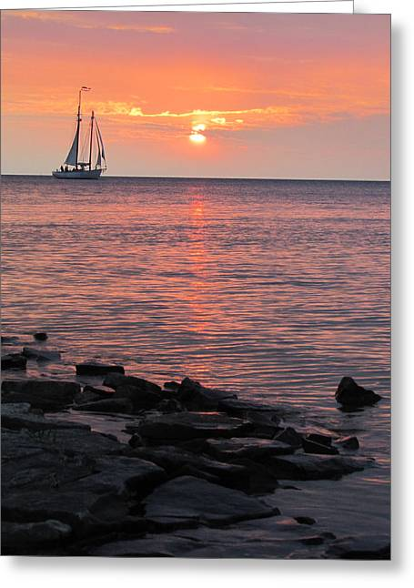 The Edith Becker Sunset Cruise Greeting Card by David T Wilkinson