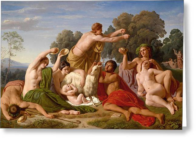 The Education Of Jupiter On Mount Ida In Crete Greeting Card
