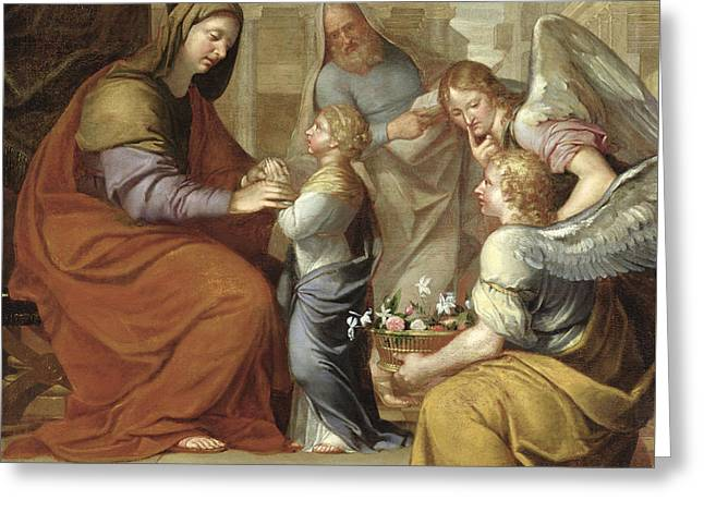 The Education Of The Virgin, 1658 Oil On Canvas Greeting Card