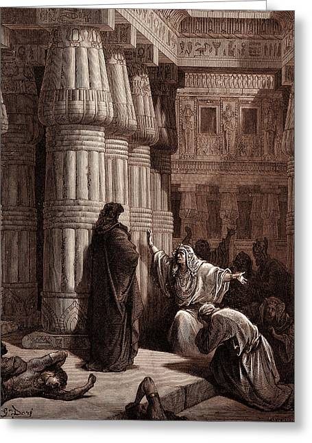 The Egyptians Urge Moses To Depart Greeting Card by Litz Collection