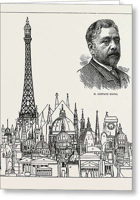 The Eiffel Tower At The Paris Exhibition As Compared Greeting Card by Litz Collection
