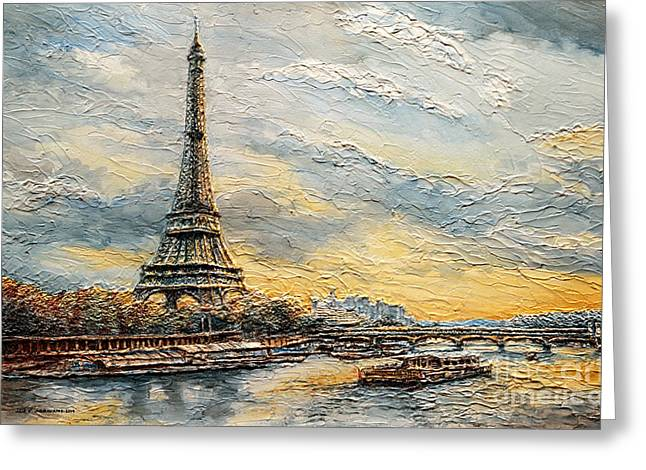 Greeting Card featuring the painting The Eiffel Tower- From The River Seine by Joey Agbayani