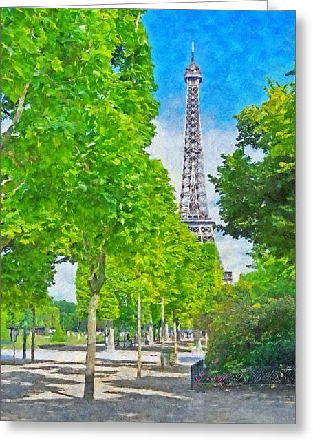 The Eiffel Tower In The Spring Of 2014 Greeting Card