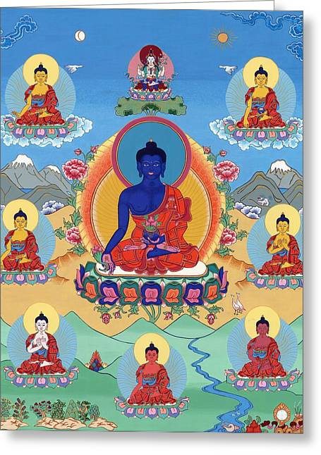 The Eight Medicine Buddhas Thangka Greeting Card