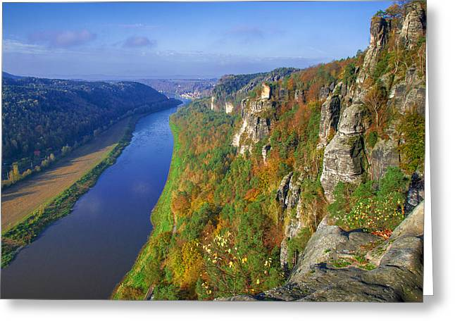 The Elbe Sandstone Mountains Along The Elbe River Greeting Card