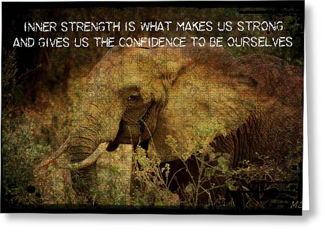Greeting Card featuring the digital art The Elephant - Inner Strength by Absinthe Art By Michelle LeAnn Scott