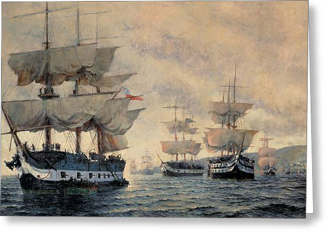 The Embarkation Of The Liberating Expedition Of Peru On The 20th August 1820 Greeting Card by Antonio A Abel