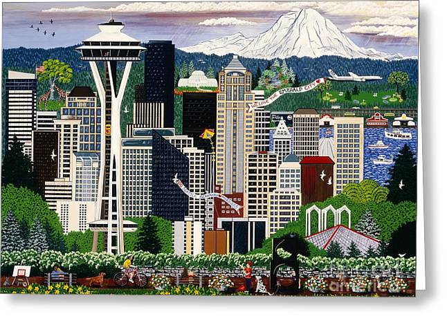 The Emerald City Seattle Greeting Card by Jennifer Lake