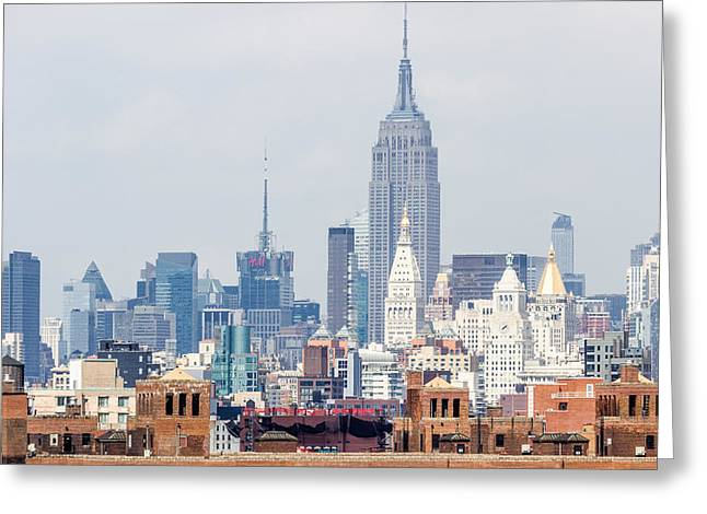 The Empire State Building From The Brooklyn Bridge Greeting Card