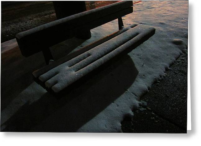 The Empty Bench Greeting Card by Guy Ricketts