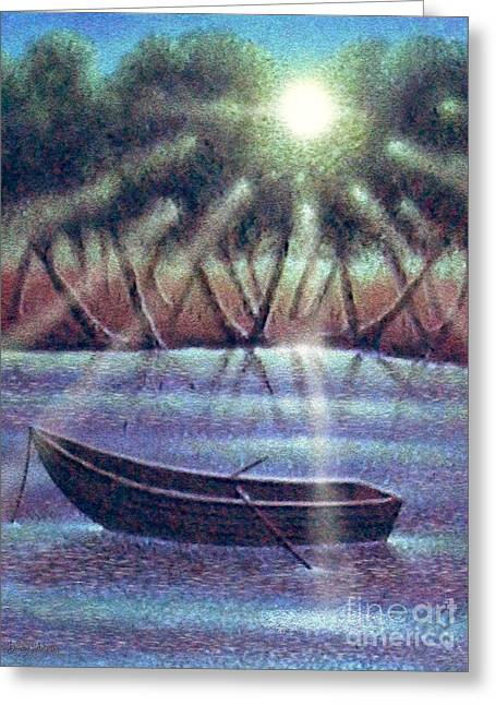 Greeting Card featuring the digital art The Empty Boat by Cristophers Dream Artistry