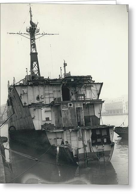 The End Of A Brave Little Ship. H.m. S. Amethyst In Greeting Card by Retro Images Archive