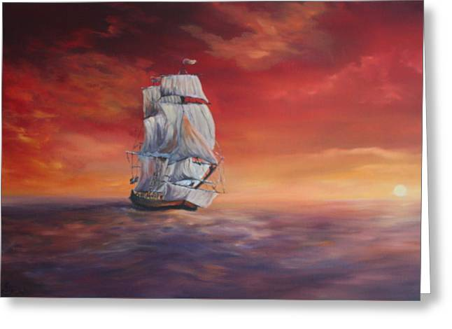 The Endeavour On Calm Seas Greeting Card by Jean Walker