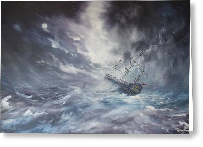 The Endeavour On Stormy Seas Greeting Card by Jean Walker