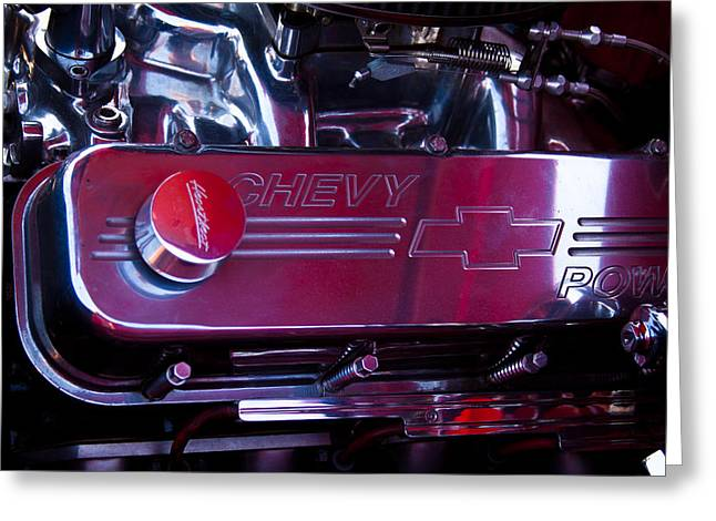 The Engine In A 1956 Chevy Bel Air Custom Hot Rod Greeting Card by David Patterson