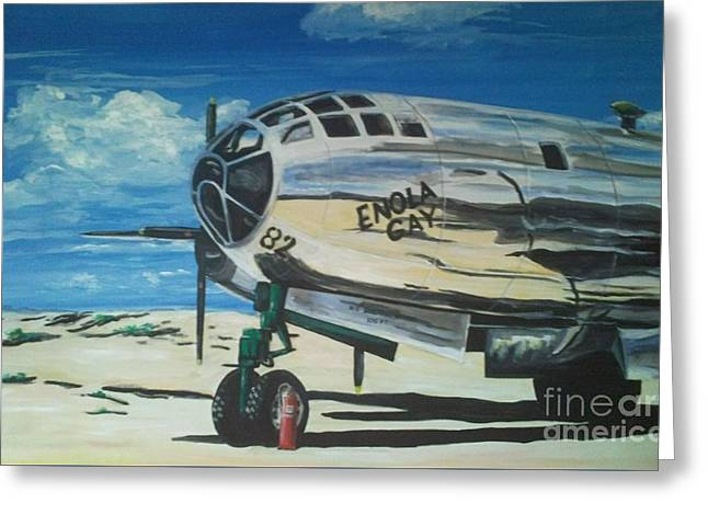 The Enola Gay Resting At Tinian Greeting Card by Richard John Holden RA