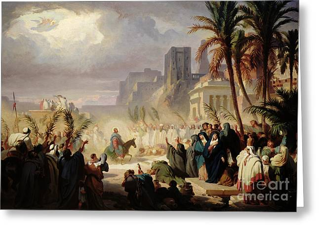 The Entry Of Christ Into Jerusalem Greeting Card by Louis Felix Leullier