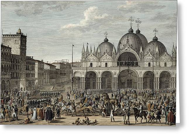 The Entry Of The French Into Venice Greeting Card by Antoine Charles Horace Vernet