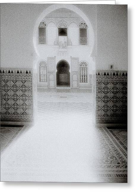Moroccan Courtyard Greeting Cards - The Ethereal Doorway Greeting Card by Shaun Higson