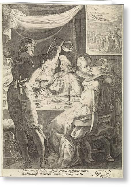 The Evening, Jan Saenredam, Cornelius Schonaeus Greeting Card
