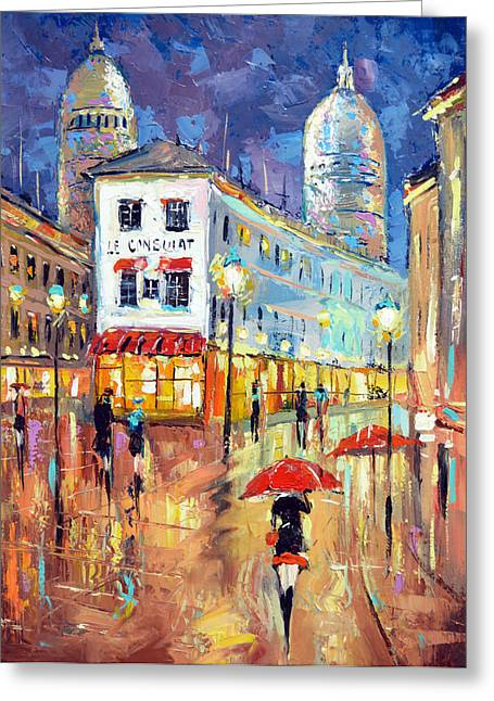 The Evening Lights Of Paris Greeting Card