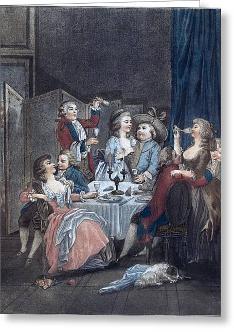 The Evening Meal, Men, Women, Food And Drink, Liszt Gourmet Greeting Card by Huet, Jean-baptiste Marie (1745?1811), French