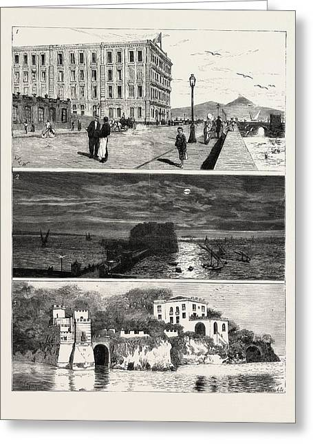 The Ex Khedive Of Egypt At Naples, Italy Greeting Card by Egyptian School