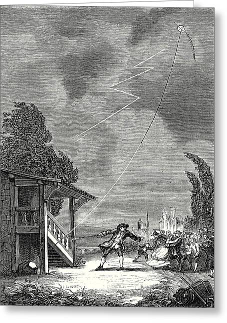 The Experiment Of The Electric Kite Conducted By Romas June Greeting Card