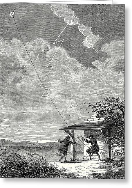 The Experiment Of The Electric Kite Conducted Greeting Card