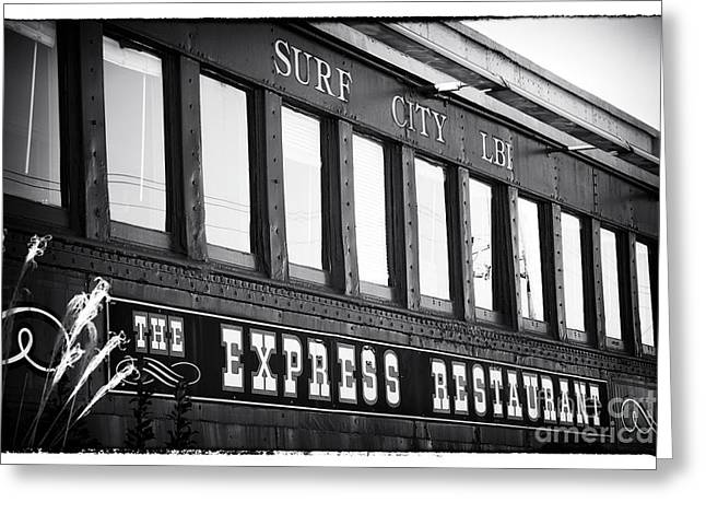 The Express Restaurant Black And White Greeting Card