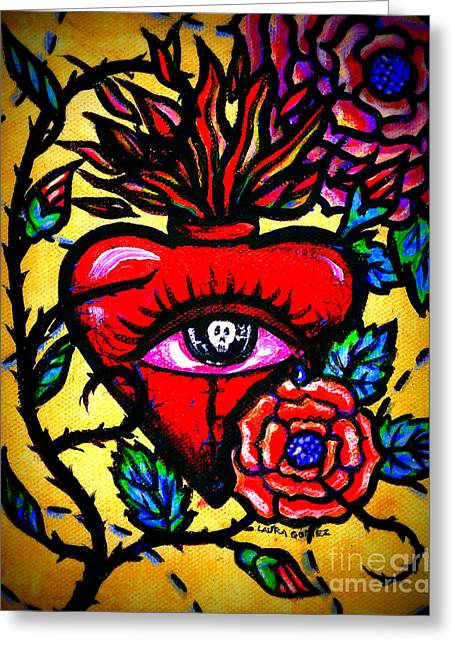 The Eyes Of A Heart By Laura Gomez Greeting Card by Laura  Gomez