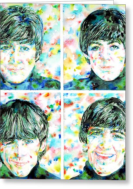 the FAB FOUR - watercolor portrait Greeting Card