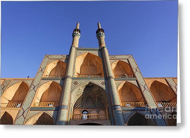 The Facade Of Mir Chaqmaq At Yazd In Iran Greeting Card by Robert Preston